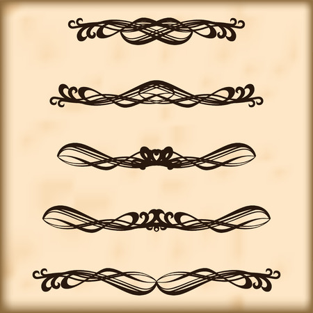 Set of vintage design elements for page text  Retro design elements text dividers and decorations Vector