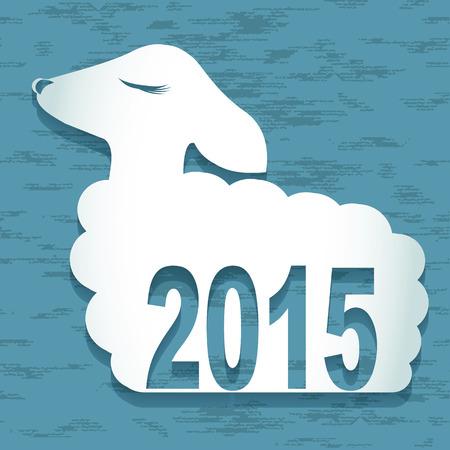 Happy New Year Sheep 2015 design card vector Vector