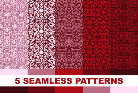 pink backgrounds: set of abstract seamless pattern. Red and pink backgrounds.