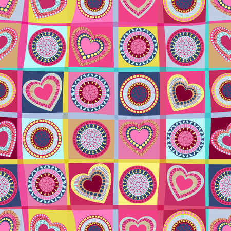 doodle seamless wallpaper with hand drawn Valentine hearts. Vector