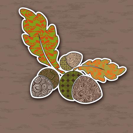 acorn: Vector illustration of colorful acorns. Pop-art  Image for design.