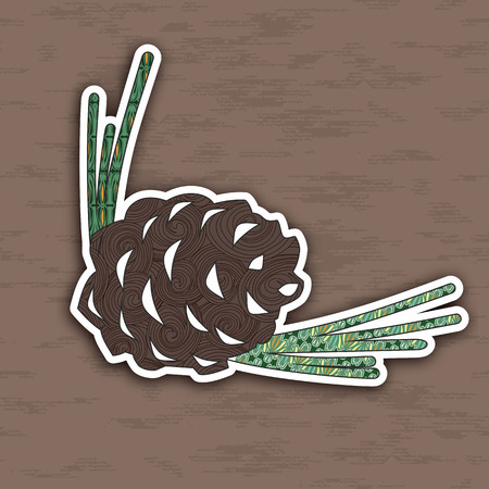 popart: Vector illustration of colorful pinecone. Pop-art  Image for design.