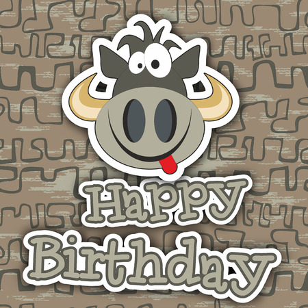 birthday invite: Cute happy birthday card with funny cow. Vector illustration Illustration