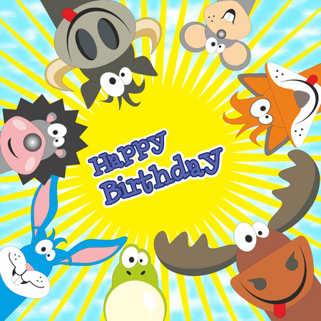 Sunny day with friends. Happy birthday card design.Birthday card with animals. Elk, cow, hedgehog, little mouse, fox, frog, rabbit. Vector illustration. Vector