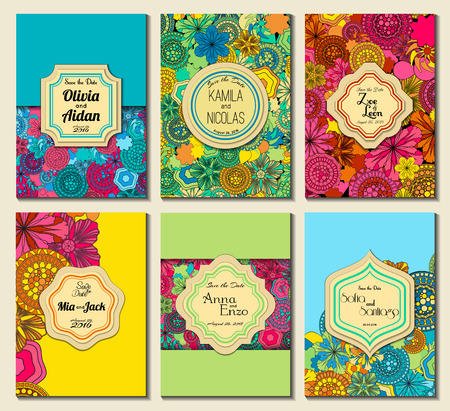 Set of perfect wedding card templates. Ideal for Save The Date, baby shower, mothers day, valentines day, birthday cards, invitations. Vector illustration vintage design.