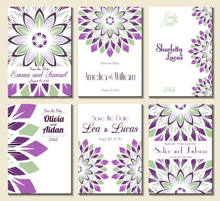 bridal party: Set of perfect wedding card templates. Ideal for Save The Date, baby shower, mothers day, valentines day, birthday cards, invitations. Vector illustration vintage design.
