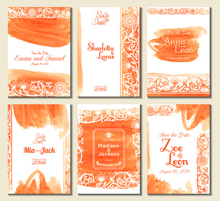 border designs: Set of perfect wedding card templates. Ideal for Save The Date, baby shower, mothers day, valentines day, birthday cards, invitations. Vector illustration watercolor design.
