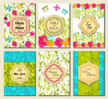 nuptial: Set of perfect wedding card templates. Ideal for Save The Date, baby shower, mothers day, valentines day, birthday cards, invitations. Vector illustration vintage design.