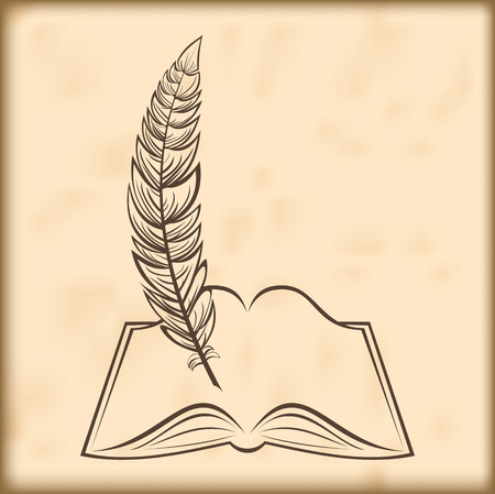 opened book: Silhouette of the opened book and quill