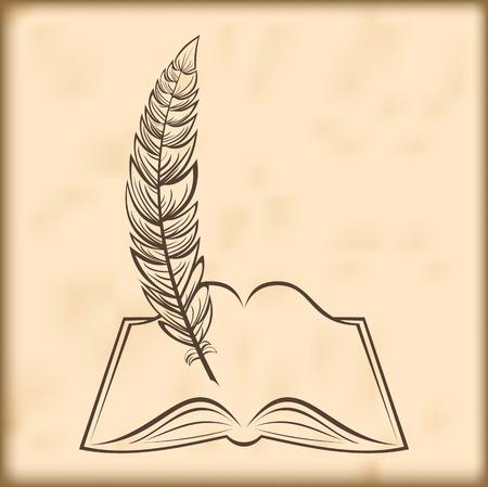 Silueta del libro abierto y una pluma Foto de archivo - 41925874