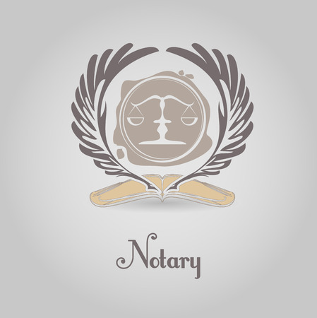 Notary symbol  vector design template. Scales, printing, pen, book.