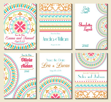 wedding clipart: Set of perfect wedding card templates. Ideal for Save The Date, baby shower, mothers day, valentines day, birthday cards, invitations. Vector illustration vintage design.