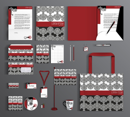Corporate identity template design with abstract geometric pattern.. Business set stationery.