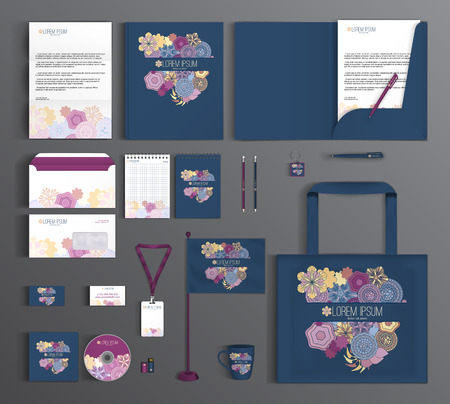Blue corporate identity template design with floral pattern. Business set stationery.