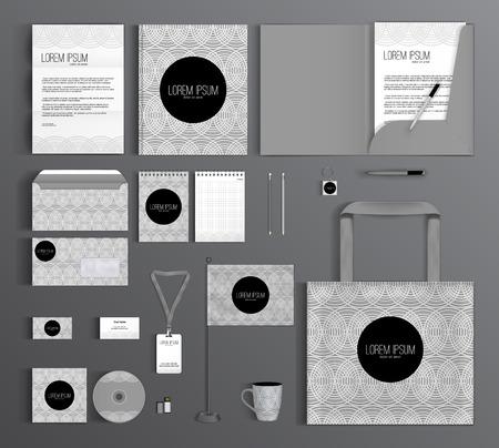 円の幾何学的なパターンを持つコーポレート ・ アイデンティティ テンプレート デザイン。ビジネスのひな形を設定します。