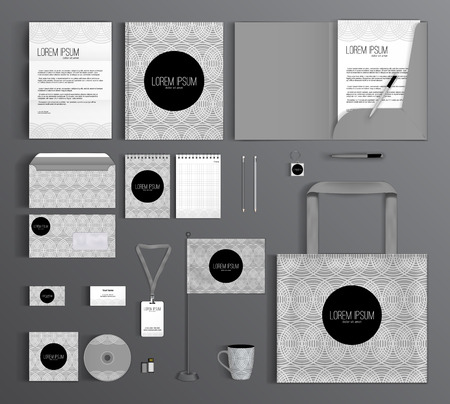 corporate: Corporate identity template design with a geometric pattern of circles. Business set stationery.