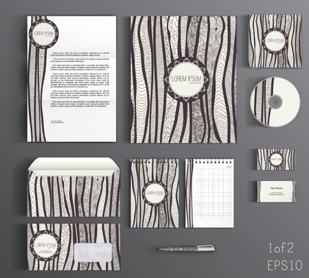 branding: Striped corporate identity template design with doodles wavy lines. Business set stationery. 1 of 2 Illustration