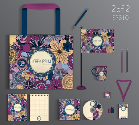 Corporate Identity set with floral pattern.  Business set stationery.