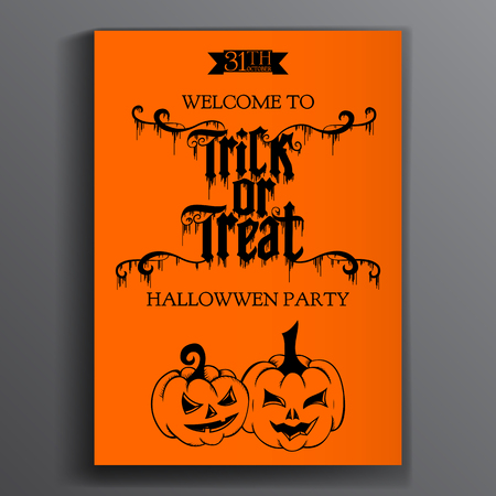 trick or treating: Vector Halloween Party Poster. Trick or treating.