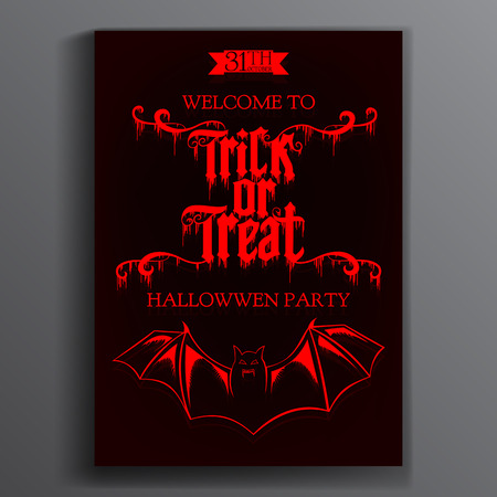 treating: Vector Halloween Party Poster. Trick or treating.