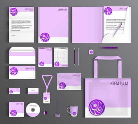 purple pattern: Corporate identity template design with purple circle. Business set stationery.