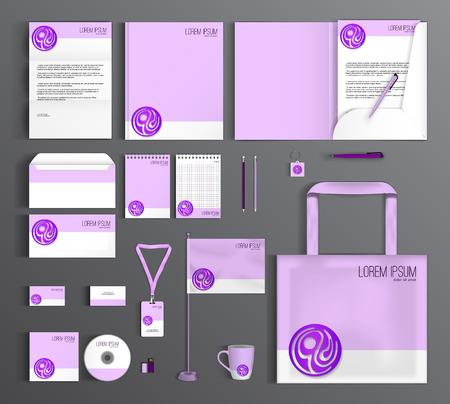 morado: El diseño corporativo plantilla de identidad con el círculo de color púrpura. papelería conjunto.
