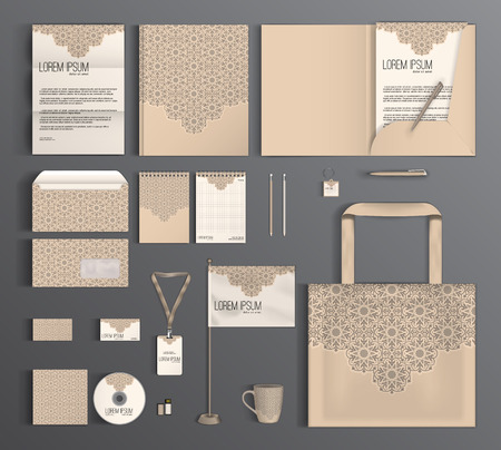 stationery: Beige corporate identity template design with abstract pattern. Business set stationery. Illustration