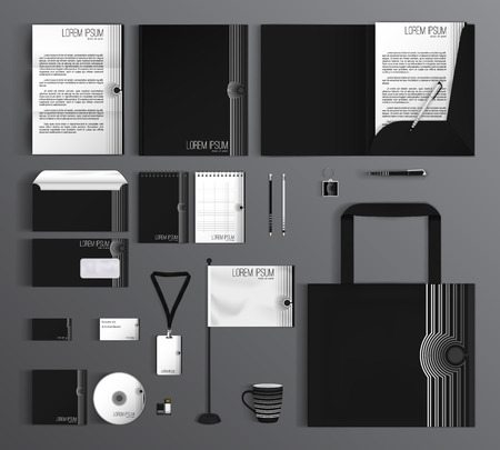 layout template: Corporate identity template design with a black and white color. Business set stationery.