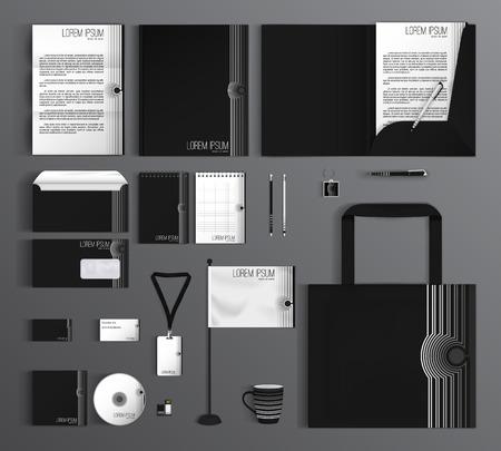 carpetas: Diseño del modelo de la identidad corporativa con un color blanco y negro. papelería conjunto.