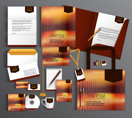 background brown: Corporate identity template design with abstract background. Business set stationery. Illustration