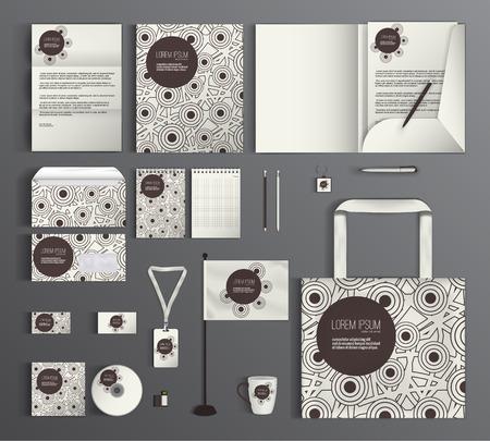 Progettazione modello di corporate identity, con un disegno geometrico di cerchi. Affari set di cancelleria. Vettoriali