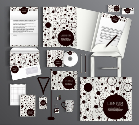 hand with card: Corporate identity template design with a geometric pattern of circles. Business set stationery.