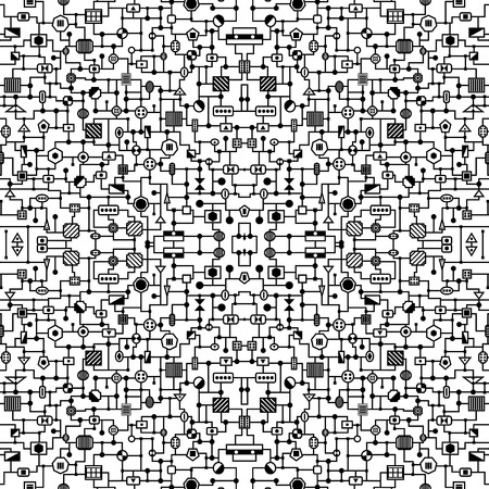 electronic background: Seamless hi-tech pattern. Electronic background. Black and white illustration