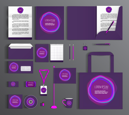 identification card: Purple corporate identity template design with blur spots. Business set stationery.