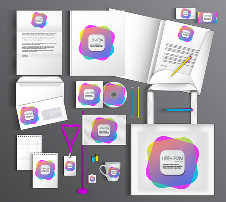 guideline: White corporate identity template with color elements. Vector company style for brandbook and guideline