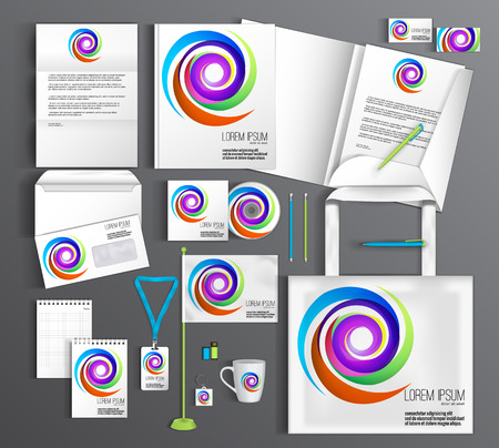 guideline: White corporate identity template with color elements. company style for brandbook and guideline