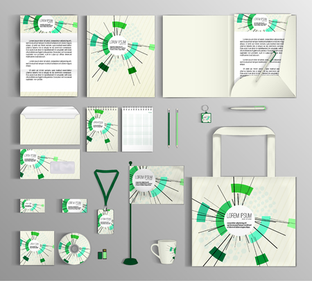 background business: Corporate identity template design with abstract composition, math technology. Business set stationery.