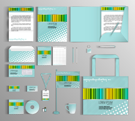 guideline: Turquoise corporate identity template with color elements. company style for brandbook and guideline