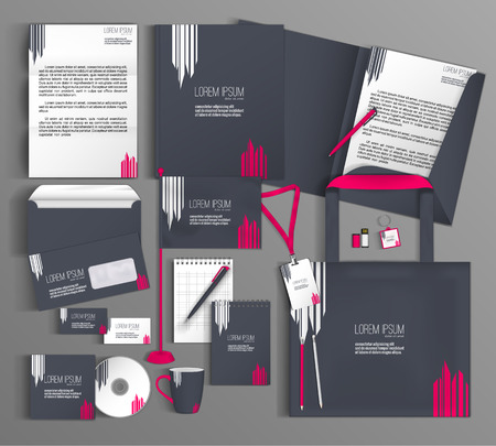 folder: Diseño del modelo de la identidad corporativa con un color gris y rosa. papelería conjunto.