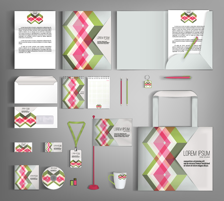 stationery: Corporate identity template design with multicolored rhombus. Business stationery set.