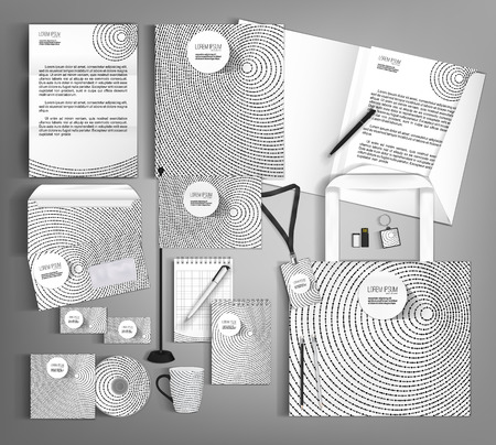guideline: White corporate identity template with black round elements. Vector company style for brandbook and guideline