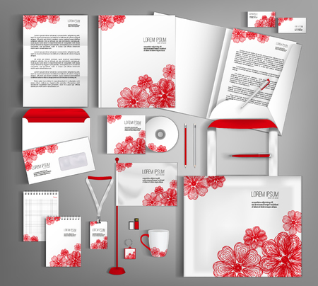 stationery: Corporate identity template design with floral pattern. Business set stationery.