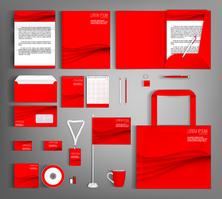 stationery: Red corporate identity template design with wavy lines. Business set stationery. Illustration