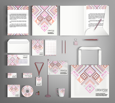 ethno: Multicolor corporate identity template design with  ethno pattern. Business set stationery.