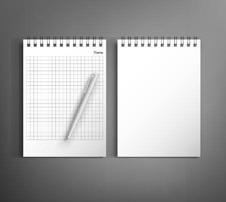 sketchpad: Collection of corporate identity presentation templates mock up with notebook and pen. Ready for your design on gray background. Illustration