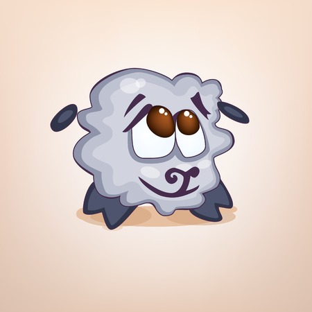 Illustration cartoon sheep sticker emoticon with embarrassed emotion for site, infographics, video, animation, websites, e-mails, newsletters, reports, comics icon symbol