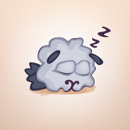 sleeps: Illustration cartoon sheep sticker emoticon with sleeps on the stomach, emotion for site, infographics, video, animation, websites, e-mails, newsletters, reports, comics, icon  symbol