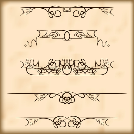 embellishments: Decorative calligraphic elements and headers set. For retro design and embellishments Illustration