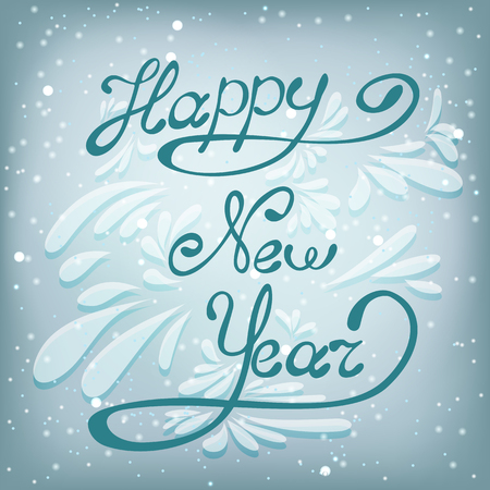 happy new year lettering design message new year greeting card light and snowflakes vector background