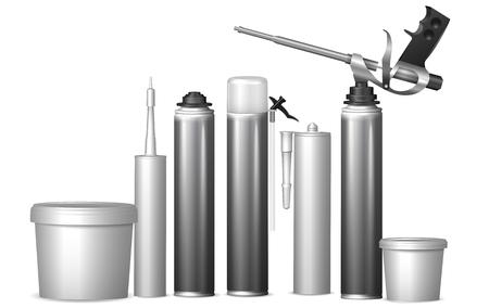 建築材料とテンプレート ボトルをモックアップします。ベクトル イラスト  イラスト・ベクター素材